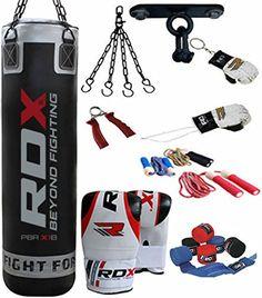 19d03dcda2114 RDX Boxsack Set Gefüllt Kickboxen MMA Kampfsport Muay Thai Boxen mit  Deckenhalterung Stahlkette Training Handschuhe 13 PC Schwer 4FT 5FT  Punching Bag