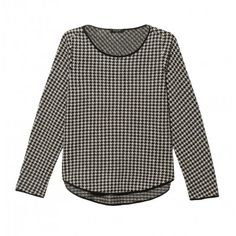 Long sleeve crew neck top with rounded uneven hem in print. 25'' shoulder to hem. 55% Acrylic, 38% Woolen, 7% Nylon; Trim: 100% Silk. Dry Clean. Made in USA. Sizes P-M. Model wears size Small. Color: Houndstooth