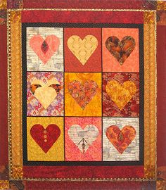 This heart quilt was designed to benefit a fund-raiser for Big Brothers Big Sisters of America.  The fabrics chosen give it the look of an old Jacobean tapestry.