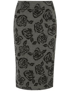 Black and Grey Textured Pencil Skirt