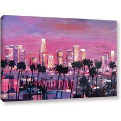 Markus Bleichner Los Angeles Golden Skyline Gallery Wrapped Canvas, Size: 12 x 18, Brown