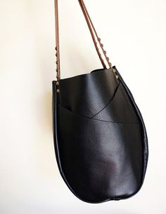 Black Leather Tote Bag with Exterior by NeroliHandbags on Etsy