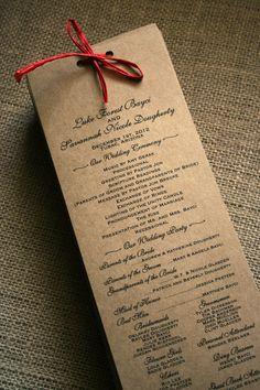 rustic wedding program ideas - Google Search