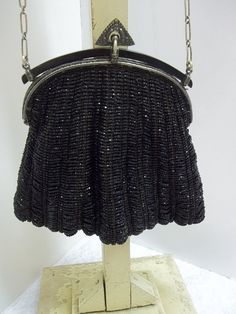 Antique Trinity Plate Purse Iridescent Black Glass by donDiLights, $225.00