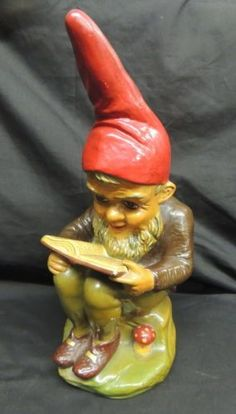 Antique Gnomes From Germany | Antique Heissner Garden Gnome West Germany Sticker Terra Cotta Reading ...