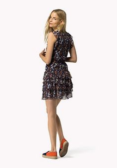 Printed Ruffle Mini Dress