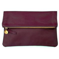 Clare Vivier Foldover Clutch Oxblood ($255) ❤ liked on Polyvore featuring bags, handbags, clutches, purses, bolsas, accessories, evening hand bags, purple leather handbag, evening handbags and purple purse