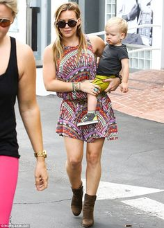 Forget Daisy Dukes! Hilary Duff reveals her toned pins in a trendy tribal  print dress and rustic ankle boots