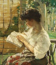 A Pleasant Afternoon/Portrait of a Young Woman Reading.Lilian Matilda Genth (American, 1876-1953).Oil on canvas.