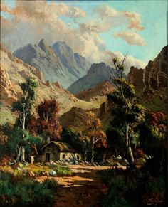 Strauss & Co is South Africa's foremost fine art auction house, we are the global leaders in South African Art. South African Art, Fine Art Auctions, Cape Town, Landscape Art, Oil On Canvas, March, Fantasy, Painting, Image