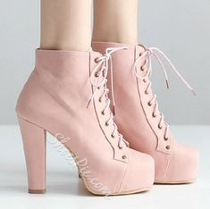 Sweet Girl Lace-Up Chunky Heel Platform Ankle Boots