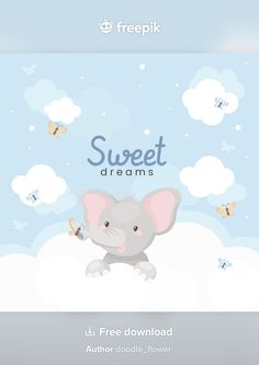 Hero Crafts, Dream Illustration, Little Elephant, Clipart, Sweet Dreams, Vector Free, Doodles, Clouds, Cute
