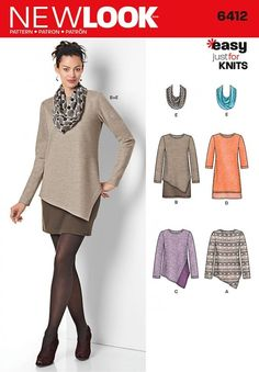 Free UK P&P - New Look Ladies Easy Sewing Pattern 6412 Jersey Knit Tops, ...