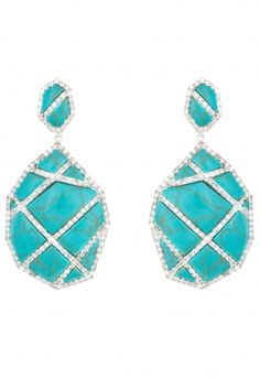 Turquoise cage earrings with white sapphire pave in Sterling silver $2880