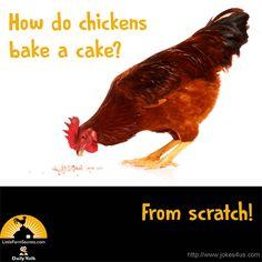 How do chickens bake a cake? Cute Jokes, Funny Jokes For Kids, Funny Jokes To Tell, Funny Puns, Kid Jokes, Funny Stuff, Corny Jokes, Kid Stuff, Farm Jokes
