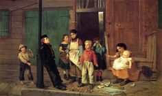 John George Brown,The Bully of the Neighbourhood, Museo Nacional Thyssen-Bornemisza, Madrid Brown Canvas, Oil On Canvas, Painting For Kids, Art For Kids, Children Painting, Painting Art, Martin Johnson, Brown Art, Attachment Parenting