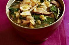 Garlic and Kale Soup Recipe, Vegetarian Times Kale Soup Recipes, Mushroom Soup Recipes, Vegetarian Times, Vegetarian Recipes, Healthy Recipes, Paella, Wild Mushroom Soup, Garlic Soup, Garlic Kale