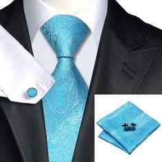 Classic Men/'s Hi Tie Black White Novelty Silk Necktie Set Wedding Busines SN-982