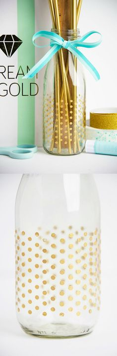 Use an adhesive peel n' stick stencil to apply polka dots to the outside of a glass vase - perfect for holding school supplies and other goodies!