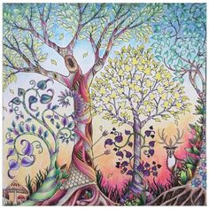 enchanted forest completed coloring pages - Google Search