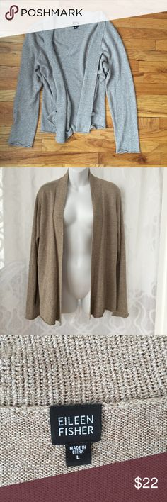 Eileen Fisher Beige Tan Open Cardigan Sweater Pit to Pit: 22 in | Length: 23.5 in |  Right arm has some snags -please see photo. Otherwise great condition! P2p measured from the inside. Please ask if you have any questions :) Eileen Fisher Sweaters Cardigans