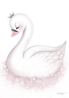 Engel - Version 1 - Tutu Irresistible Boutique - Betty's - Animal Drawings, Cute Drawings, Baby Swan, Beautiful Swan, Baby Art, Nursery Prints, Wall Prints, Cute Illustration, Cute Wallpapers