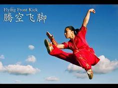 Flying Front Kick by Jade Xu Chinese Martial Arts, Martial Arts Women, Marshal Arts, Self Defense Martial Arts, Shaolin Kung Fu, Martial Arts Techniques, Qigong, Wing Chun, Aikido