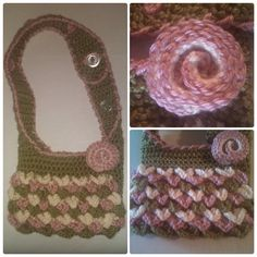 Crochet Crocodile Purse - Handmade Crochet Handbag - Adjustable Strap with Vintage Buttons - Rose Appliqué - Rose, Green & Eggshell on Etsy, $12.00