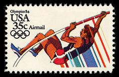 A pole vaulting stamp from the 1984 Summer Olympics series.