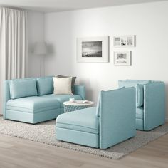 VALLENTUNA Modular corner sofa, with storage/Hillared light blue. One sofa, lots of possibilities. In need of extra beds, smart storage or a comfy reading corner? Corner Sofa Living Room, Ikea Living Room, Modular Corner Sofa, Modular Sectional Sofa, Flexible Furniture, Cheap Furniture, Sofa Design, Ikea Vallentuna, Light Blue Sofa