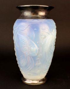 Sabino French Opalescent Art Deco Sterling Rim Fantail Goldfish Mantle Vase LZO