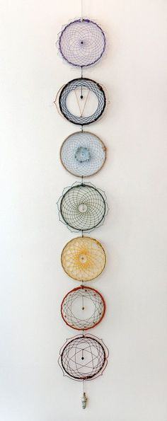 """motleycraft-o-rama:  """"By CreationDevi on Etsy.  """" Dreams Catcher, Los Dreamcatchers, Diy And Crafts, Arts And Crafts, Craft Projects, Projects To Try, String Art, Wind Chimes, Weaving"""