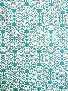STENCIL TURQUOISE Yard of Fabric
