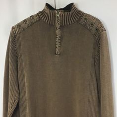 Buckle Black Label Mens Slim Fit Brown 1/4 Zip 100% Cotton Sweater Size Large #Buckle #12Zip