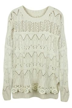 white knit patterned sweater