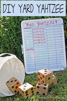 Yard Yahtzee and Summer Fun. Easy to make, fun to play! Yard Yahtzee and Summer Fun. Diy Yard Games, Backyard Games, Backyard Ideas, Family Yard Games, Cozy Backyard, Backyard Bbq, Fun Outdoor Games, Fun Games, Outdoor Parties