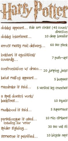 Another Harry Potter Workout. This one looks a bit ridiculous. I just might have to try it!