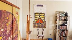 Apartment of an Artist: Home Studio, Artwork, Icons, Restored Antique Furniture, Painted Kitchen Walls and Retro Accents
