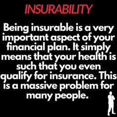 Knowing this issue first hand, being insurable is a huge issue in your personal finance. The ability to even qualify for coverage is a great asset. Many do not, which is why there is even more emphasis on getting affordable coverage at a younger age. Insurance Ads, Insurance Marketing, Life Insurance Quotes, Health Insurance, Living On A Budget, Financial Planning, Butt Workout, Personal Finance, A Team