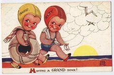 Two-Happy-Girls-Annie-Kitty-Going-Swimming-Nora-Annie-Birch-1935-Postcard-Q