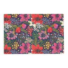 Vintage Bright Floral Pattern Fabric Placemat - floral gifts flower flowers gift ideas