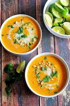 Thai Coconut Curry Butternut Squash Soup. Satisfying on a cold Fall day #curry #soups
