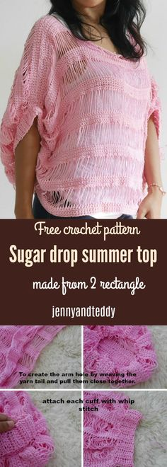 Sugar drop summer top free crochet pattern. made from 2 rectangle with cotton yarn beginner friendly and lots of very detail photo tutorial.