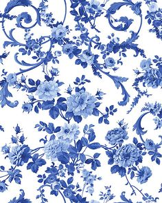 Porcelain Blue - Flourishing Roses - White