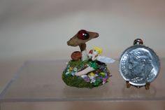 Miniature Dollhouse Sue Ann Thwaite Ladybug Fairy & Mushroom Figurine 1:12 NR #Ladybug Small Figurines, Miniature Figurines, Miniature Dollhouse, Ladybugs, Stuffed Mushrooms, Ann, Fairy, Christmas Ornaments, Holiday Decor