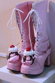 Now we have ice cream boots but they are pink.  I can say I like them better pink than green, but I still wouldn't wear them.