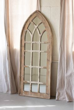 """The Tall Church Mirror features a thick, distressed wood frame that is beautiful in modern rustic spaces.  Product Dimensions: 23.5"""" x 60"""" H.  Modern Farmhouse, Church, Rustic Wood, Wood Frame Mirror, Mirror, Wall Decor, Rustic Decor, Window, Home"""