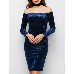 Long Sleeve Velvet Choker Party Dress - Blue - Blue M Choker Dress, Neck Choker, Blue Long Sleeve Dress, Dress Long, Prom Dress, Blue Party Dress, Semi Formal Dresses, Elegant Outfit, Classy Dress