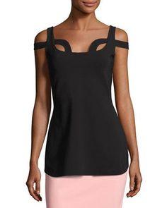 Ilvie Cutout Stretch Jersey Top, Black