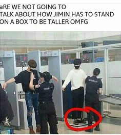 You know how Jimin is standing on a box? Jungkook is too, but because it's hidden behind the belt, all of us thought he wasn't. Still though, Jungkook is taller than Jimin. Just wanted to clear this up. Memes Fr, Memes Bts Español, Vkook Memes, Bts Memes Hilarious, Jikook, K Pop, Bts Bangtan Boy, Bts Jimin, Wattpad